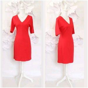 ELIZA J V-Neck Red Dress Sz 10/L Stretch Knit